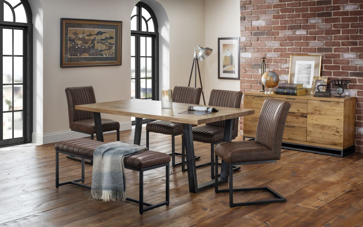 Brooklyn Dining Set Upholstered Bench 4 Chairs Julian Bowen Limited