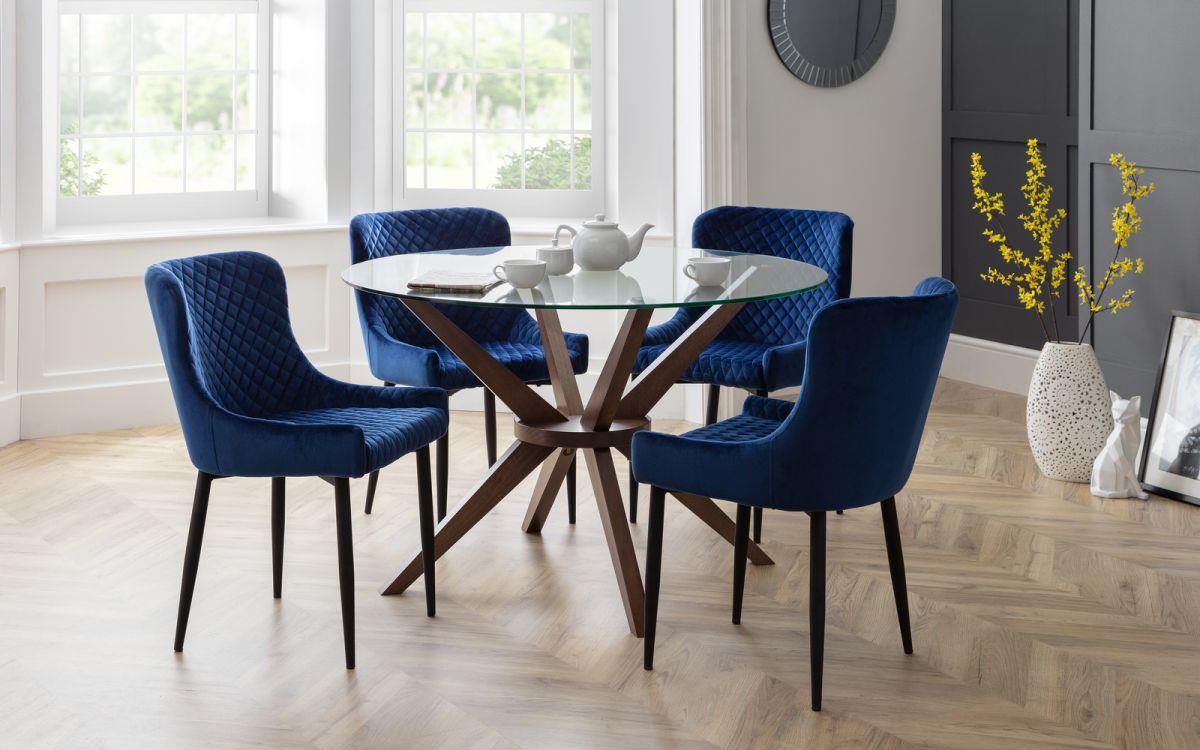 Luxe Velvet Dining Chair Blue Black, Dining Room Chairs Uk Black